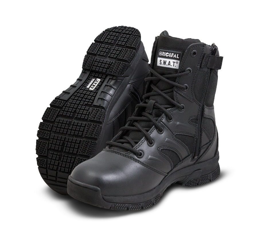 "Original SWAT Tactical Police Boots - Force 8"" Side Zip Boots"