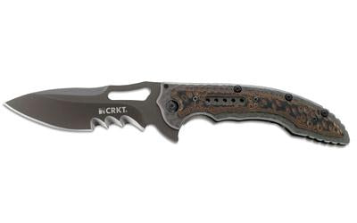 "Columbia River Knife & Tool Fossil 3.96"" Black-sts Veff Serrated"