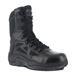"Reebok Men's Rapid Response RB 8"" Stealth Boot with Side Zipper - RB8874"