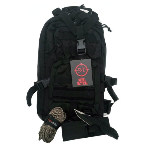 Outdoor Survival Bundle Rebel Tactical Backpack w/ Paracord & Firestarter Knife