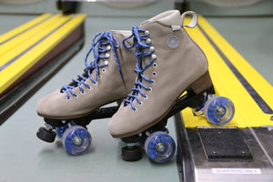 BTFL Tony Pro Genuine Suede Artistic Grey taupe roller skate available at BTFLStore.com skee ball Blue wheels