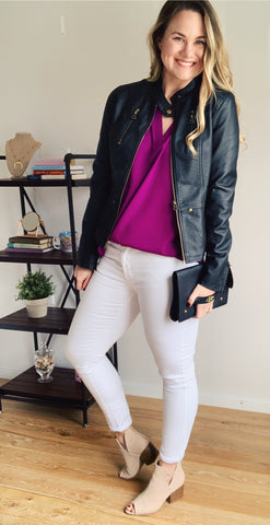 Magenta v-neck blouse with white jeans and open toed camel booties