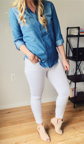 Chambray shirt white jeans open toe booties