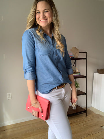 chambray shirt, white jeans coral clutch with hand strap
