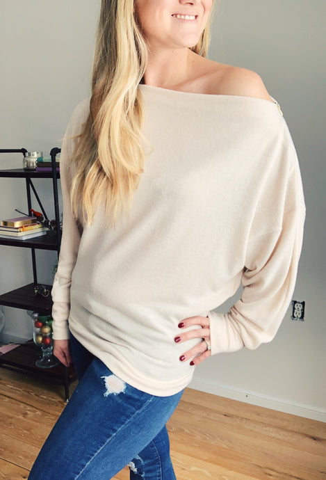 Winter White Zippered Dolman Top - Lyla Taylor Boutique