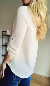 Say It Simply White V-neck Blouse - Lyla Taylor Boutique