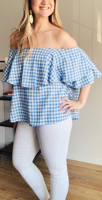 Dreaming of Warm Days Gingham Off the Shoulder Top - Lyla Taylor Boutique