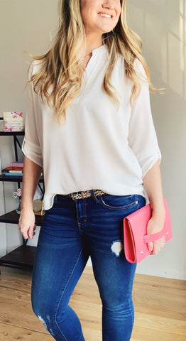 V neck white blouse half tuck