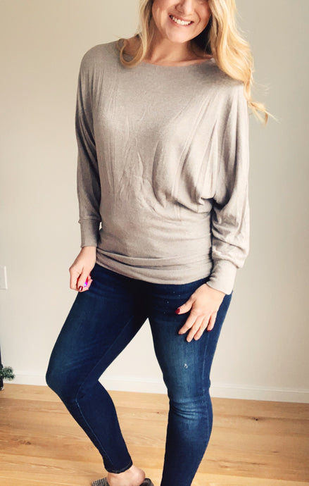 Taupe Dolman Top - Lyla Taylor Boutique