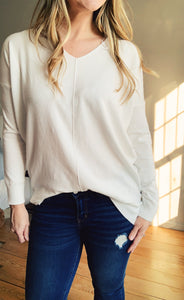 White Butter V-Neck Sweater - Lyla Taylor Boutique