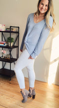 Sky Blue Twisted Knot V-neck Sweater - Lyla Taylor Boutique