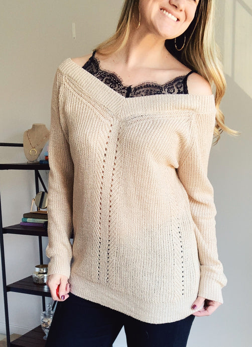 Think About Me Off the Shoulder Bralette Sweater - Lyla Taylor Boutique