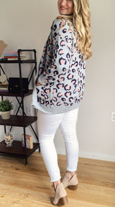 Springtime Leopard Print Cardigan with Pockets