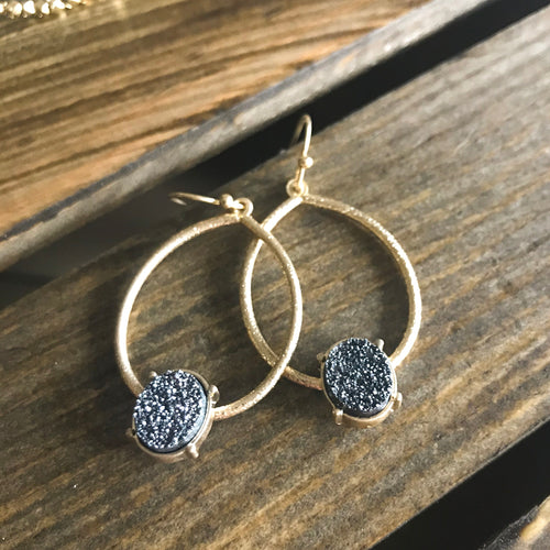 The Charlotte Gold Druzy Hoops - Lyla Taylor Boutique