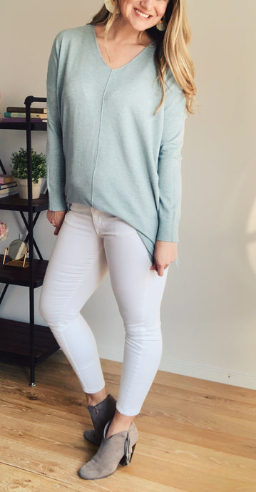 Heather Mint Butter V-Neck Sweater - Lyla Taylor Boutique