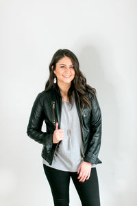 Vegan Leather Motorcycle Jacket - Lyla Taylor Boutique