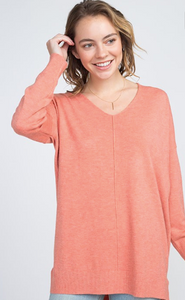 Coral Soft As Butter V-Neck Sweater