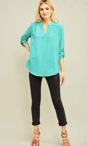 Say It Simply Mint V-neck Blouse