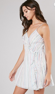 Softest Kisses Stripped Wrap Dress