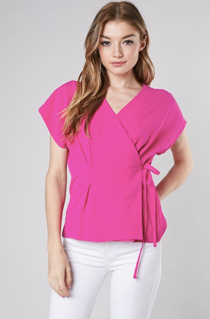 Hot Pink Side Ribbon Tie Blouse