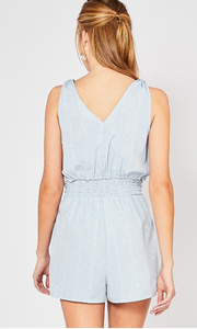 Skies are Blue Tie Front Romper