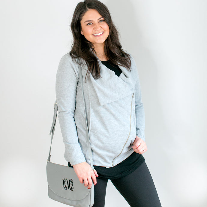 Weekender Heather Gray Zipper Jacket - Lyla Taylor Boutique