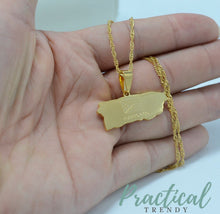 Map of Puerto Rico Pendant Necklace Chain