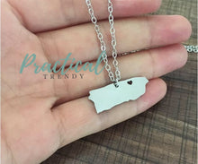 Puerto Rico with Heart Map Pendant Chain