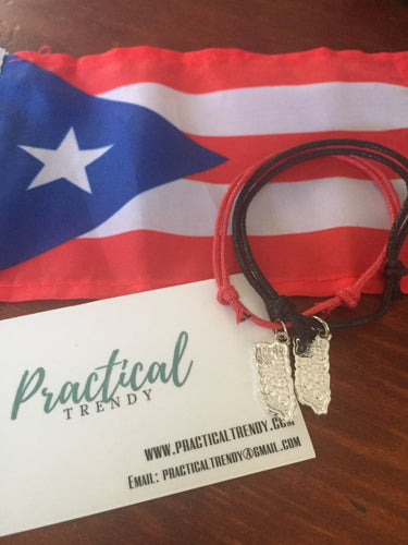 Puerto Rico Map Charm Cord Bracelet 2 Pack