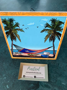 Hamaca at the Beach Painted Tile
