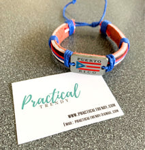 Puerto Rican Flag Leather Bracelet
