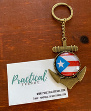 Puerto Rican Flag Anchor Pendant Keychain