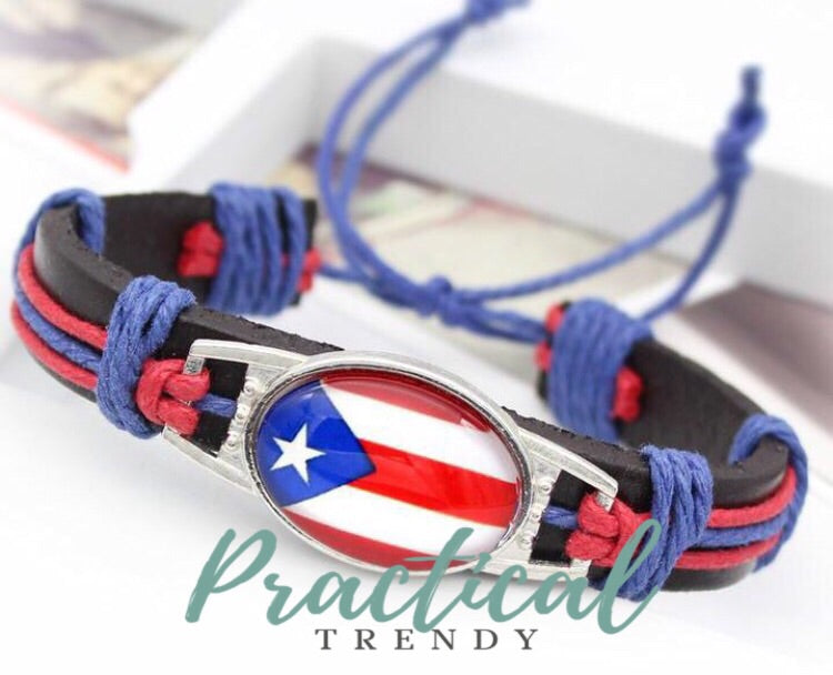 Puerto Rico Leather Adjustable Bracelet Unisex