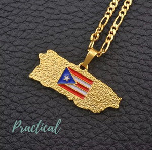 Puerto Rico Map Flag Pendant Chain for Men