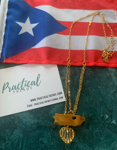 Double Necklace Puerto Rico Pendant