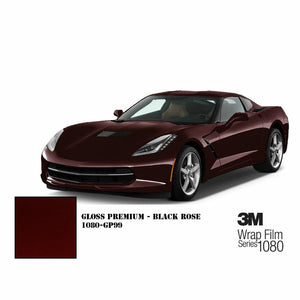 3M 1080 SCOTCHPRINT GLOSS BLACK ROSE VINYL WRAP | GP99