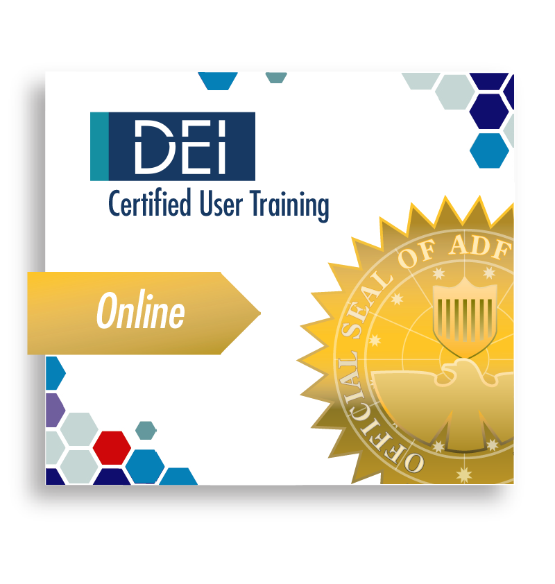 DEI logo Certified User Training Gold Online ribbon with ADF official seal