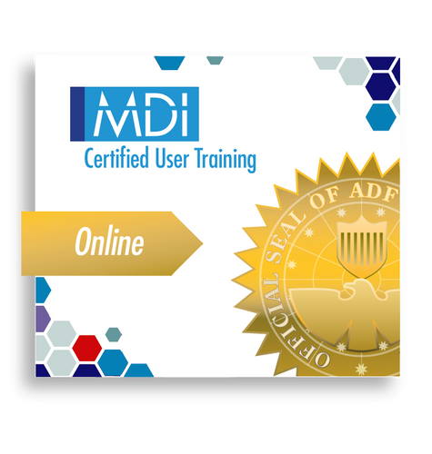 MDI logo Certified User Training Gold Online ribbon with ADF official seal