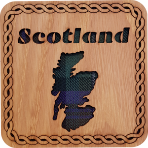 'Scotland Map' Square Tartan Coaster