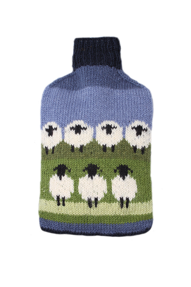 Flock of Sheep Woollen Hot Water Bottle Cover