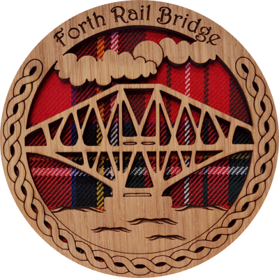 'Forth Rail Bridge' Round Tartan Coaster