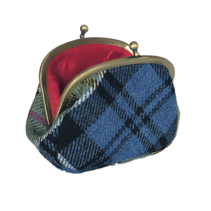 Clip Top Purse in Ancient Colquhoun Tweed and Leather - Luss General Store