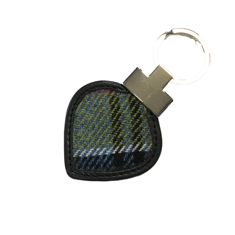 Heart Keyring in Ancient Colquhoun Tweed and Leather - Luss General Store