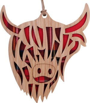 'Highland Cow' Hanging Tartan Plaque