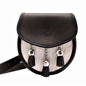 Nixey Sporran Bag in Black Leather with Cream Hide