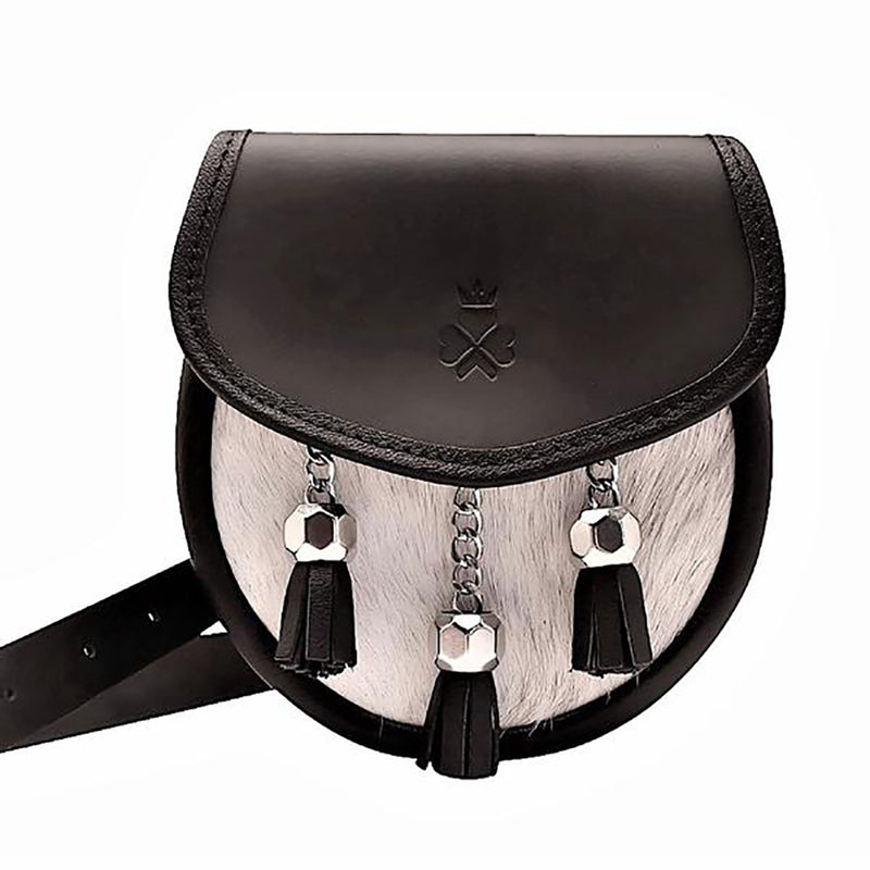 Black Leather with Cream Hide Sporran Bag (Nixey) - Luss General Store