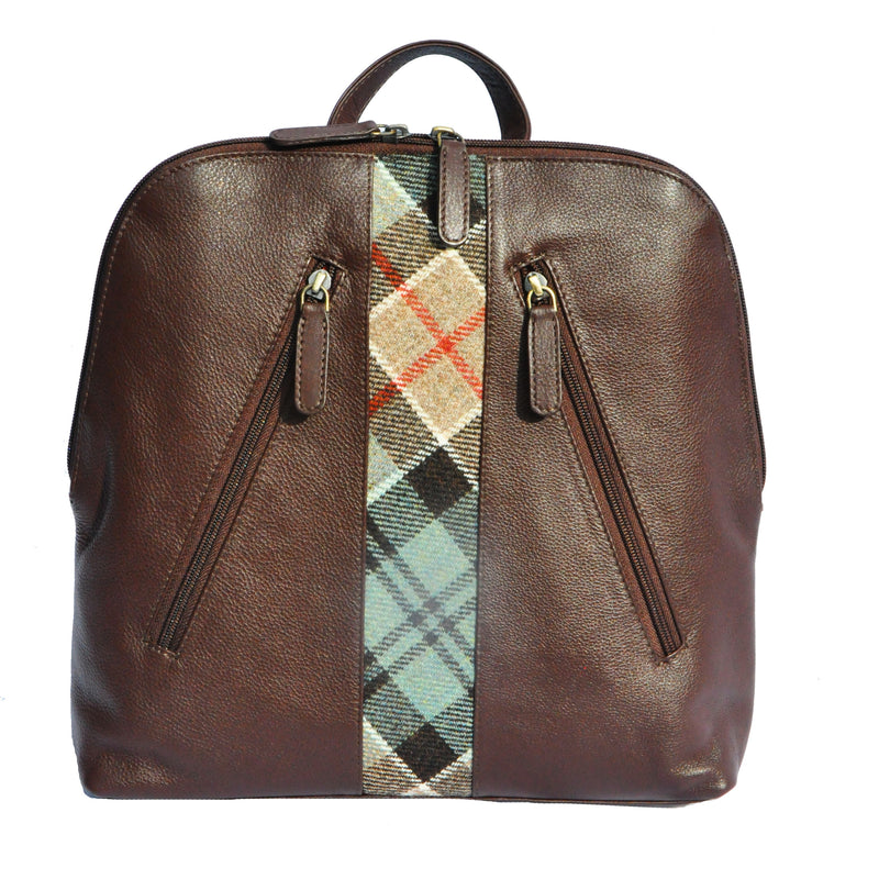 Henri Back Pack in Weathered Colquhoun Tweed & Leather