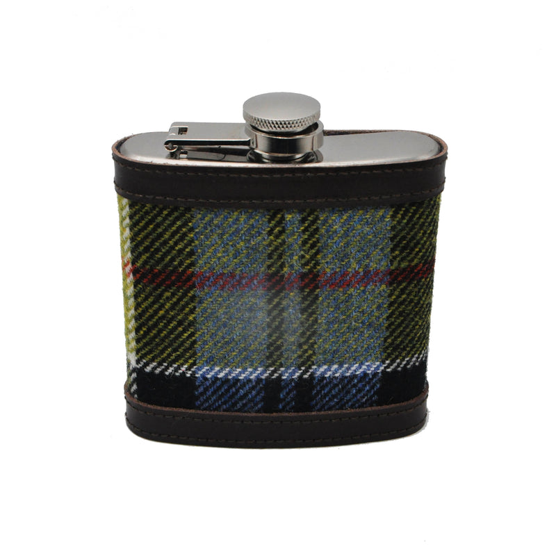 Hip Flask in Ancient Colquhoun Tartan Tweed by Clare O'Neill
