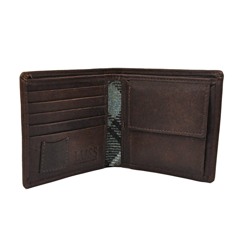 Corbett Wallet in Weathered Colquhoun Tweed & Leather