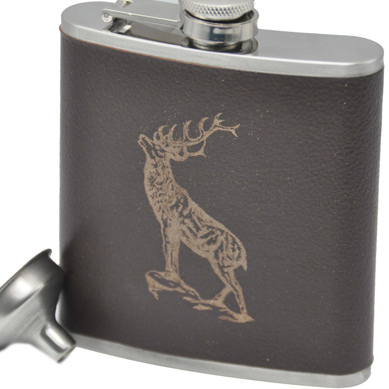Leather Bound Hip Flask with Stag Embossed Detail